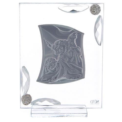 Cuadrito Ángel Bautismo lámina de plata 10x7 cm 7