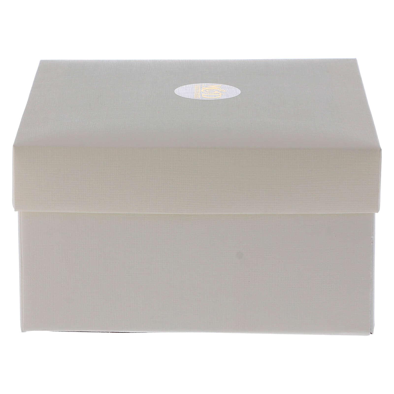 Cuadrito Virgen Niño laminado plata bolitas 10x7 cm 3