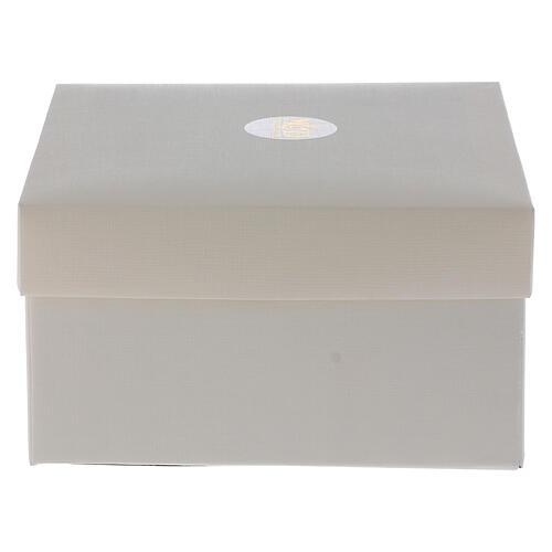 Cuadrito Virgen Niño laminado plata bolitas 10x7 cm 4