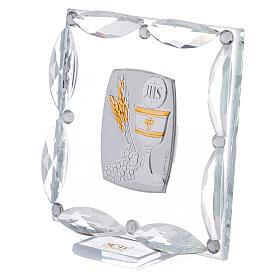Cuadrito cristales blancos y bilaminado Primera Comunión 7x7 cm s2