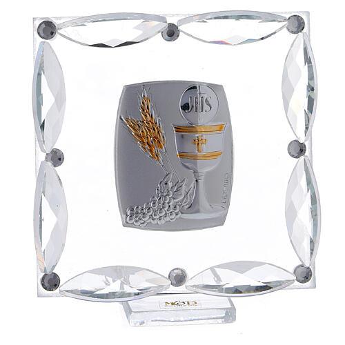 Cuadrito cristales blancos y bilaminado Primera Comunión 7x7 cm 1