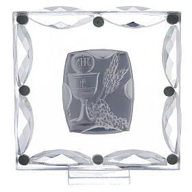 Quadretto cristalli bianchi e bilaminato Prima Comunione 7x7 cm s3