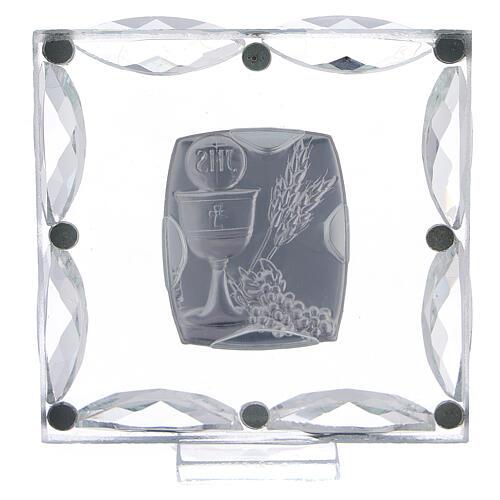Quadretto cristalli bianchi e bilaminato Prima Comunione 7x7 cm 3