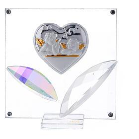 Cuadrito Corazón y hojas angelitos Bautismo 7x7 cm