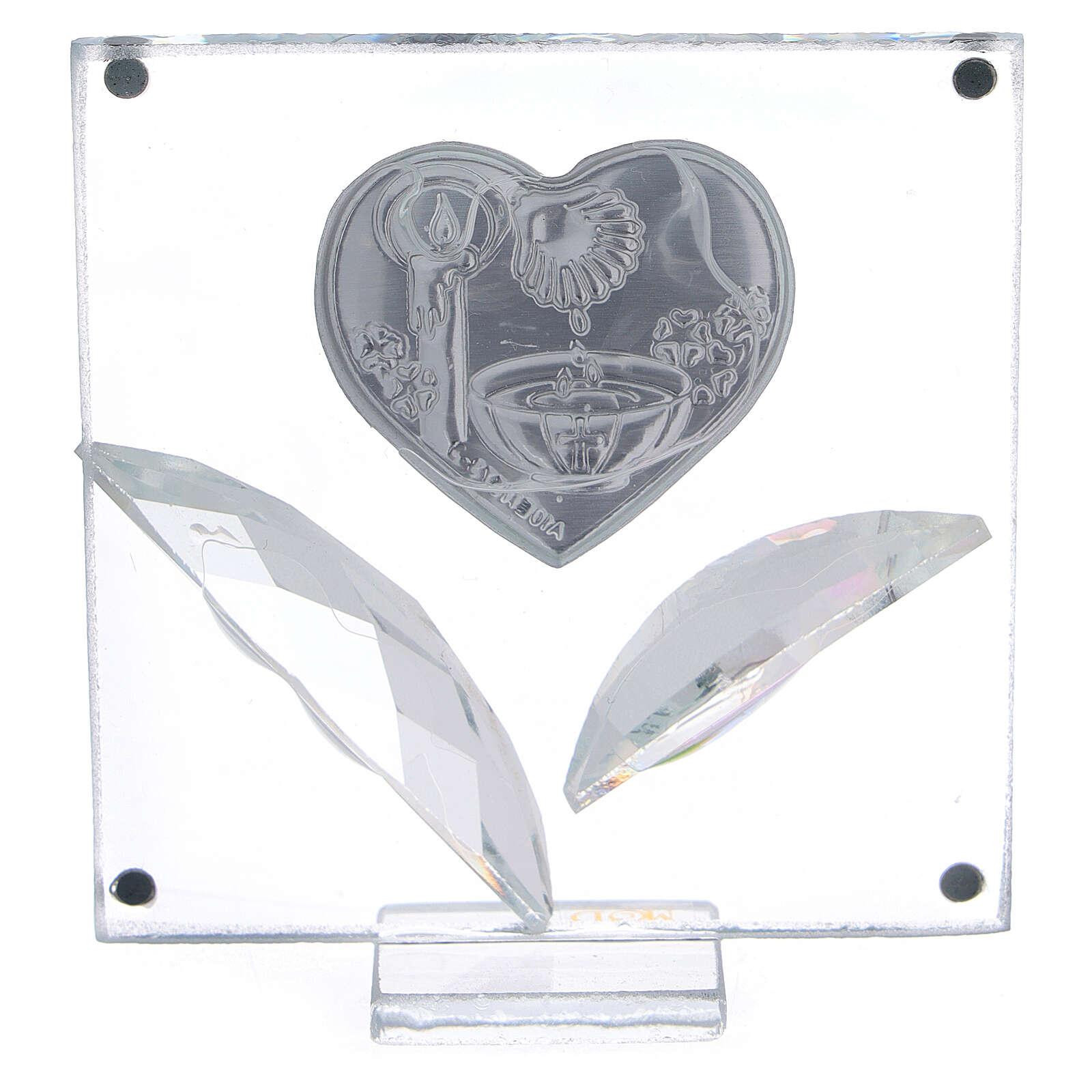 Cuadrito corazón y hojas Bautismo 7x7 cm 3