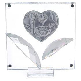 Cuadrito corazón y hojas Bautismo 7x7 cm s3