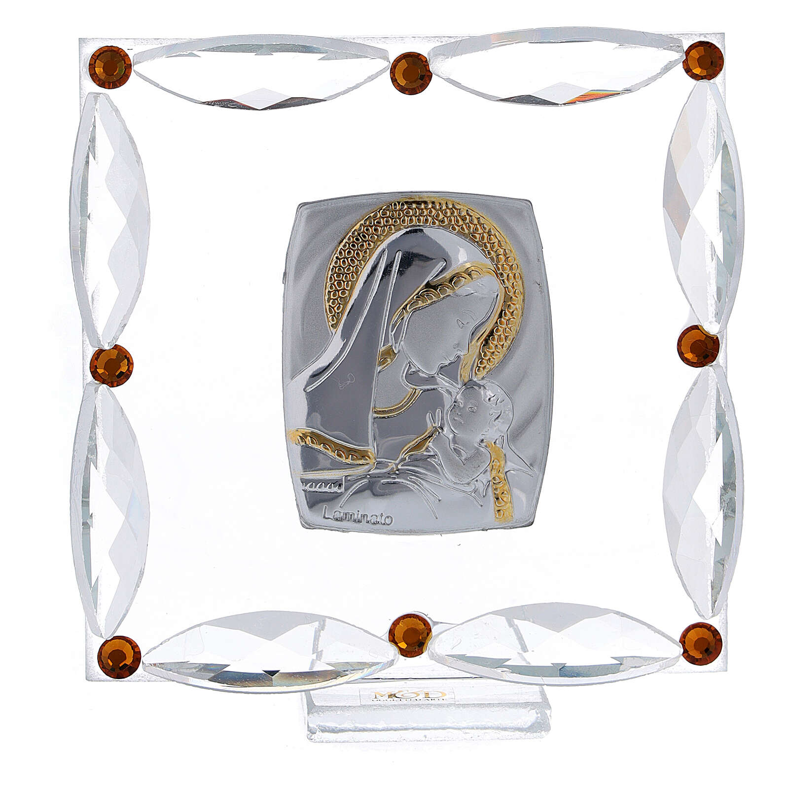 Cuadrito cristales Swarovski bicolor Maternidad bautismo 7x7 cm 3