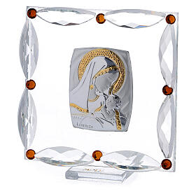 Cuadrito cristales Swarovski bicolor Maternidad bautismo 7x7 cm s2