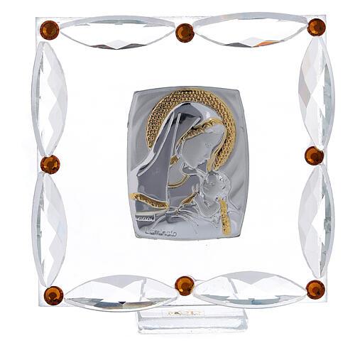 Cuadrito cristales Swarovski bicolor Maternidad bautismo 7x7 cm 1