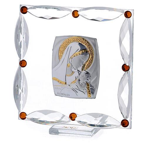 Cuadrito cristales Swarovski bicolor Maternidad bautismo 7x7 cm 2