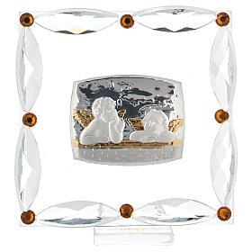 Cuadrito Bautismo angelitos cristales Swarovski s1