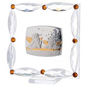 Cuadrito Bautismo angelitos cristales Swarovski s2