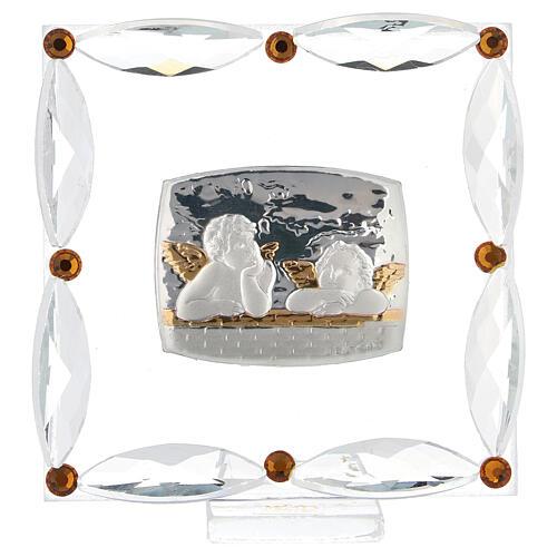 Cuadrito Bautismo angelitos cristales Swarovski 1