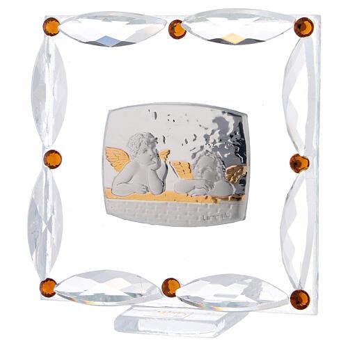 Cuadrito Bautismo angelitos cristales Swarovski 2