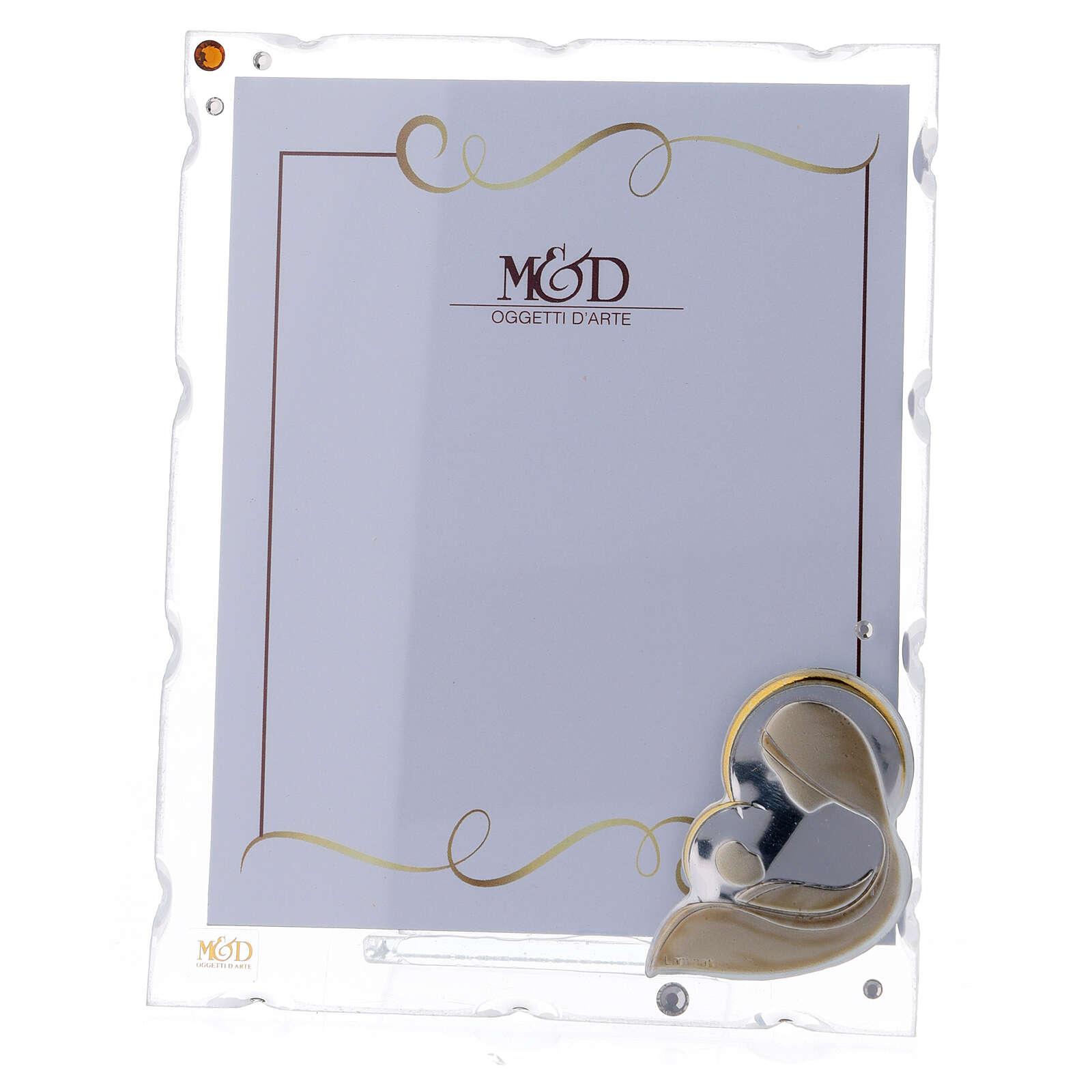 Porte-photo Vierge à l'Enfant argent bilaminé strass 15x10 cm 3