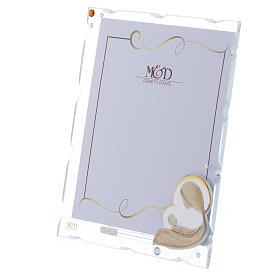 Porte-photo Vierge à l'Enfant argent bilaminé strass 15x10 cm s2