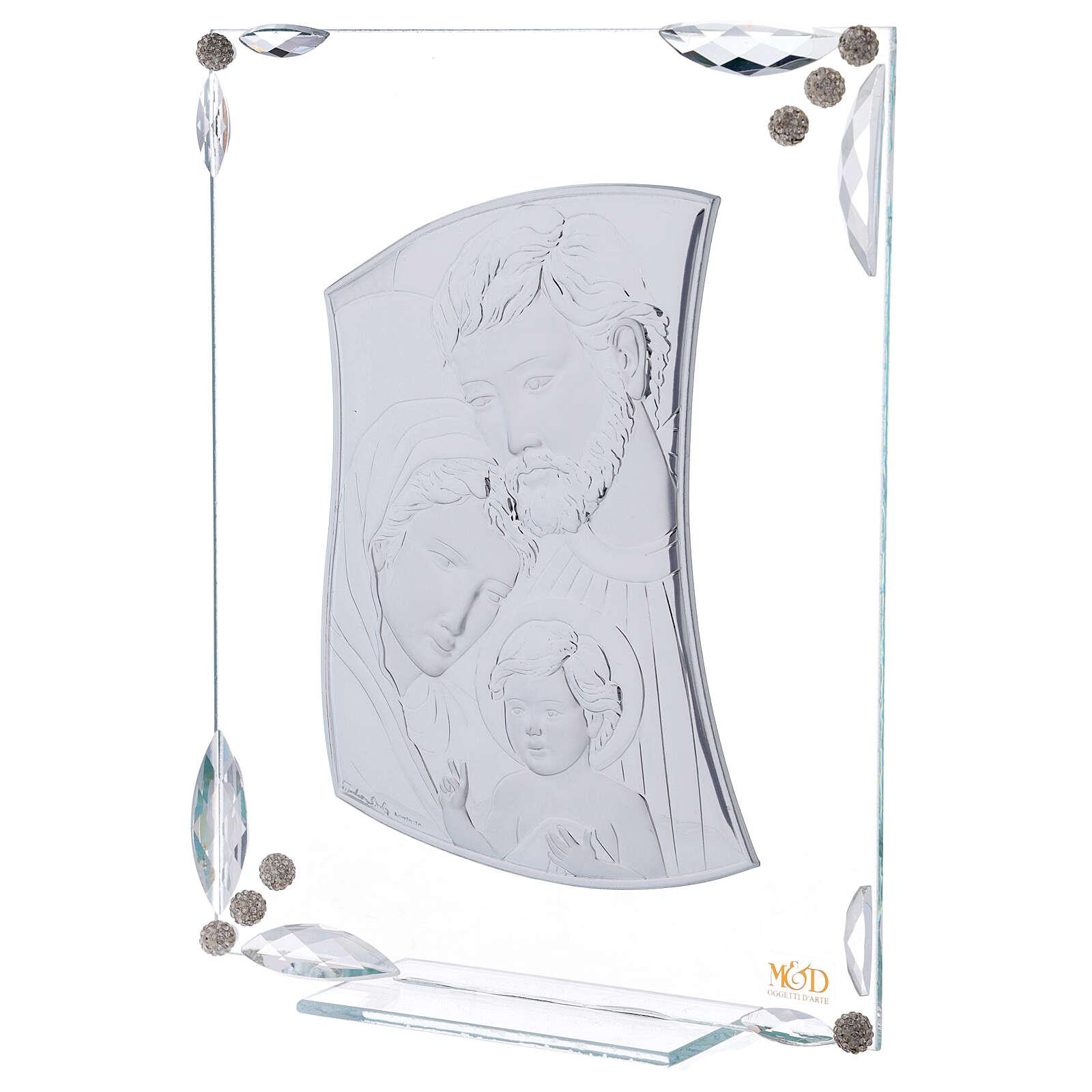Cuadrito Sagrada Familia bilaminado y cristales 25x20 cm 3