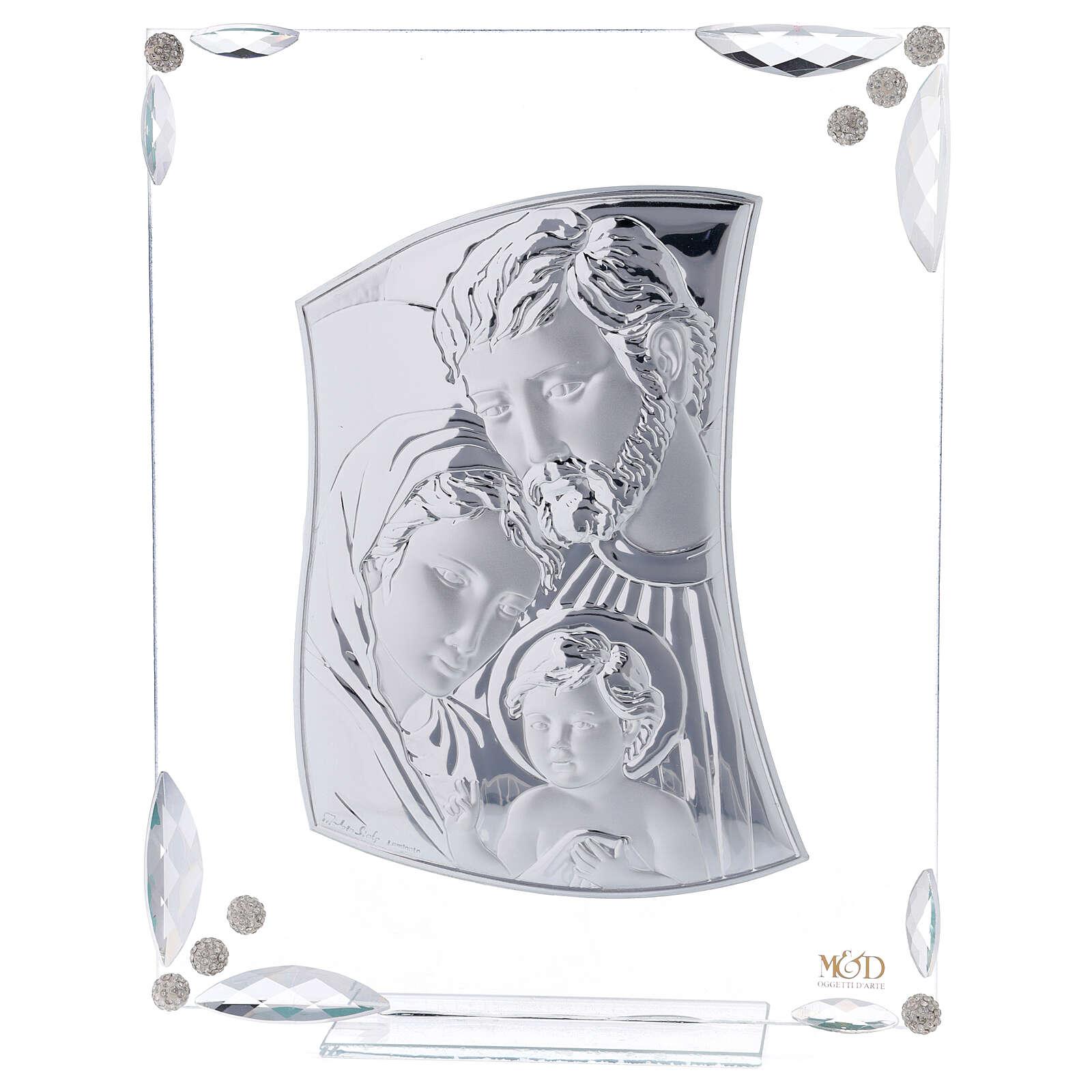 Quadretto Sacra Famiglia bilaminato e cristalli 25x20 cm 3