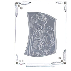 Quadretto Sacra Famiglia bilaminato e cristalli 25x20 cm s3