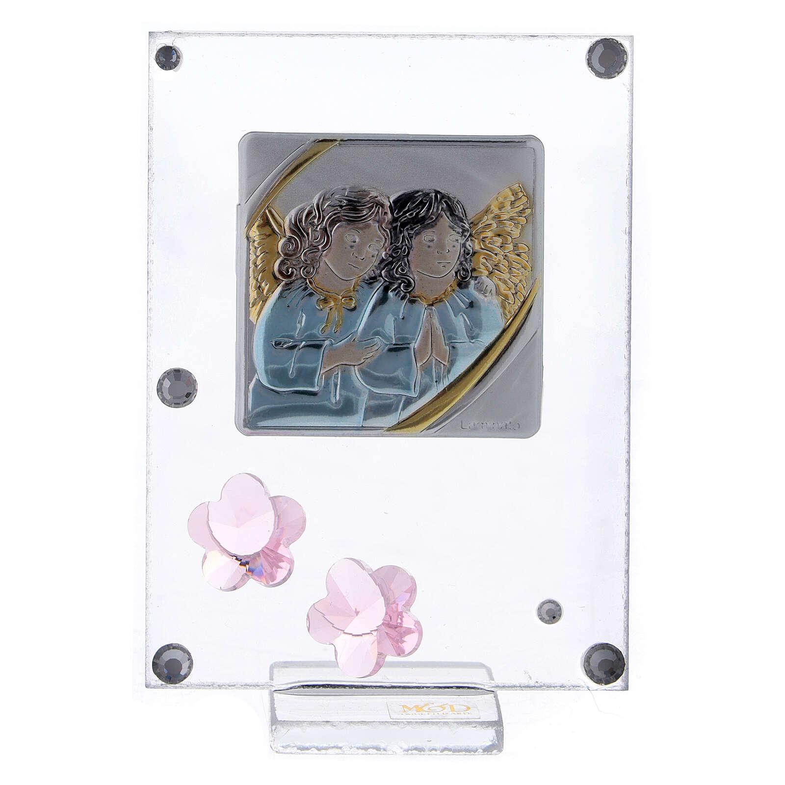 Cadre anges en prière argent bilaminé fleurs rose 3