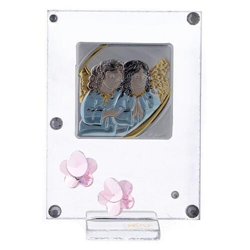 Cadre anges en prière argent bilaminé fleurs rose 1