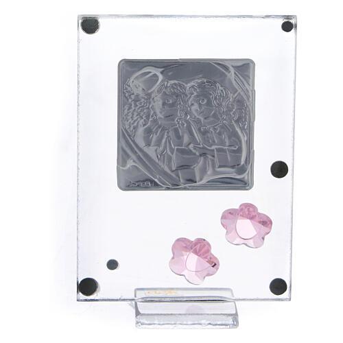 Quadro anjos em oração prata bilaminada flores cor-de-rosa 3
