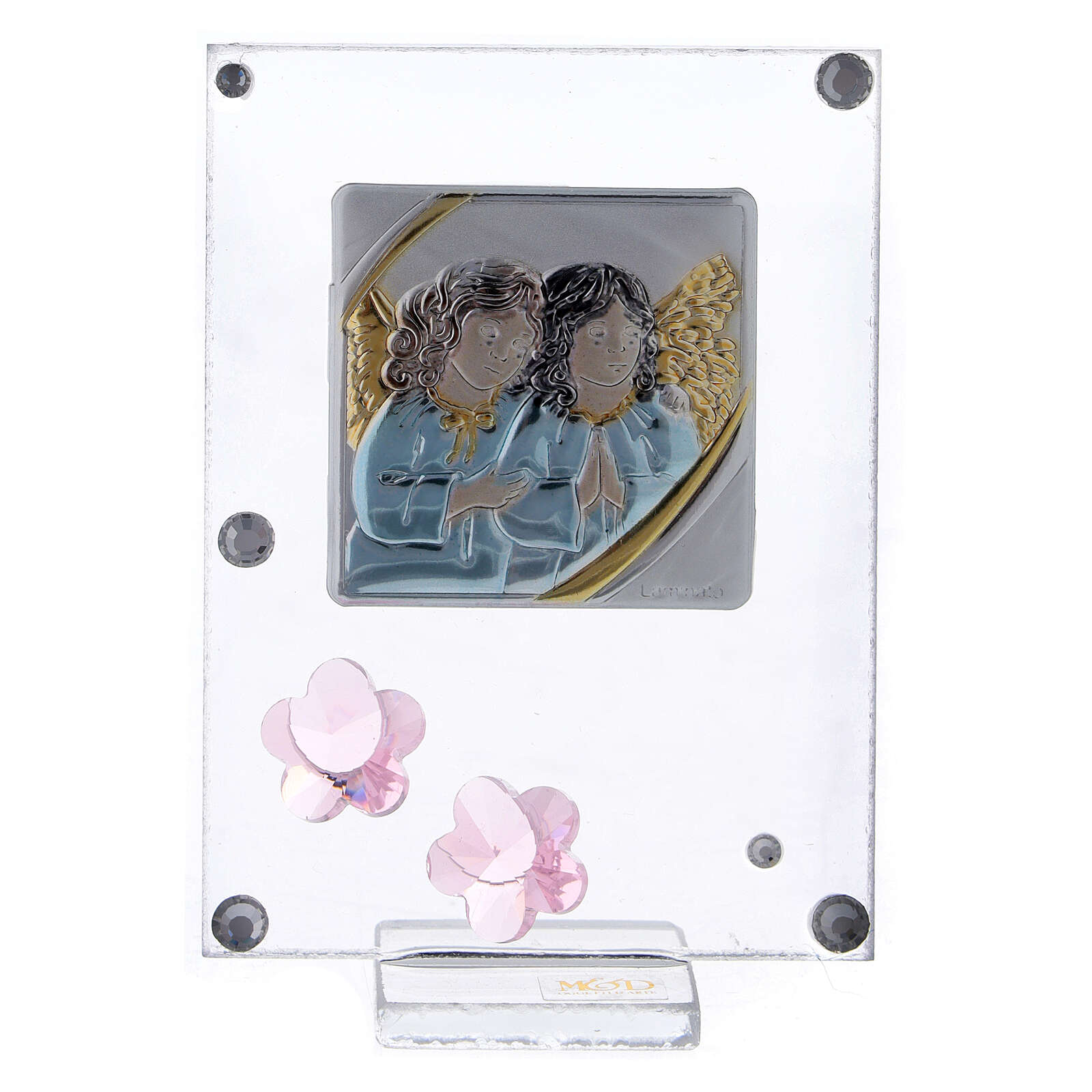 Picture Angels in prayer double laminated silver pink flowers 3
