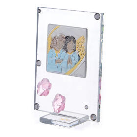 Picture Angels in prayer double laminated silver pink flowers s2