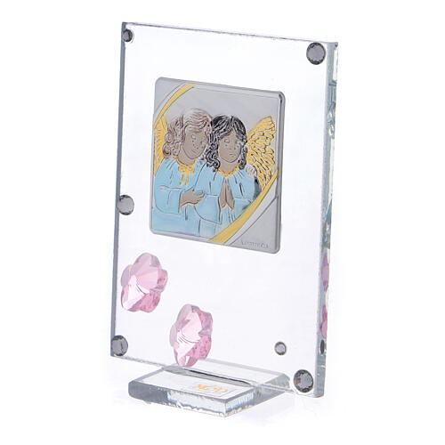 Picture Angels in prayer double laminated silver pink flowers 2