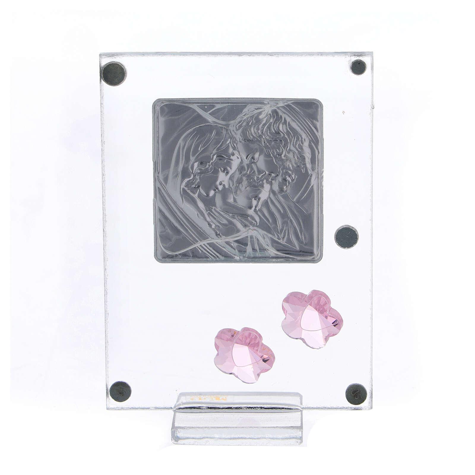 Cadre argent bilaminé Sainte Famille fleurs roses 10x5 cm 3