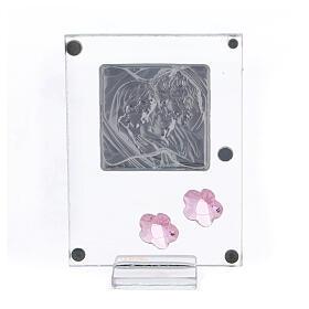 Quadretto Sacra Famiglia bilaminato fiorellini rosa 10x5 cm s3