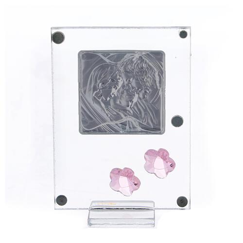 Quadretto Sacra Famiglia bilaminato fiorellini rosa 10x5 cm 3