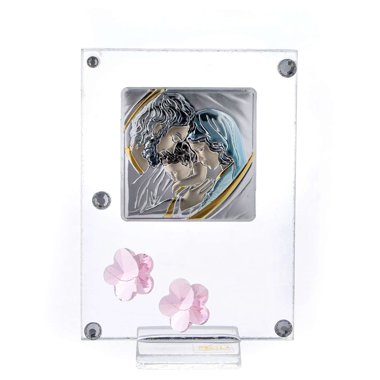 Picture Holy Family double laminated silver pink flowers 4x2 in 3