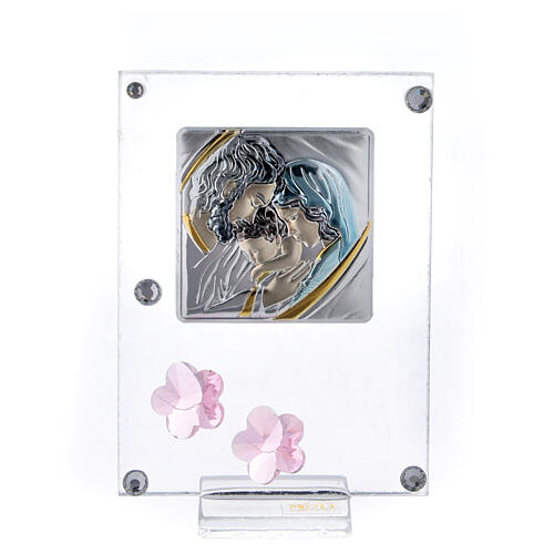 Picture Holy Family double laminated silver pink flowers 4x2 in 1