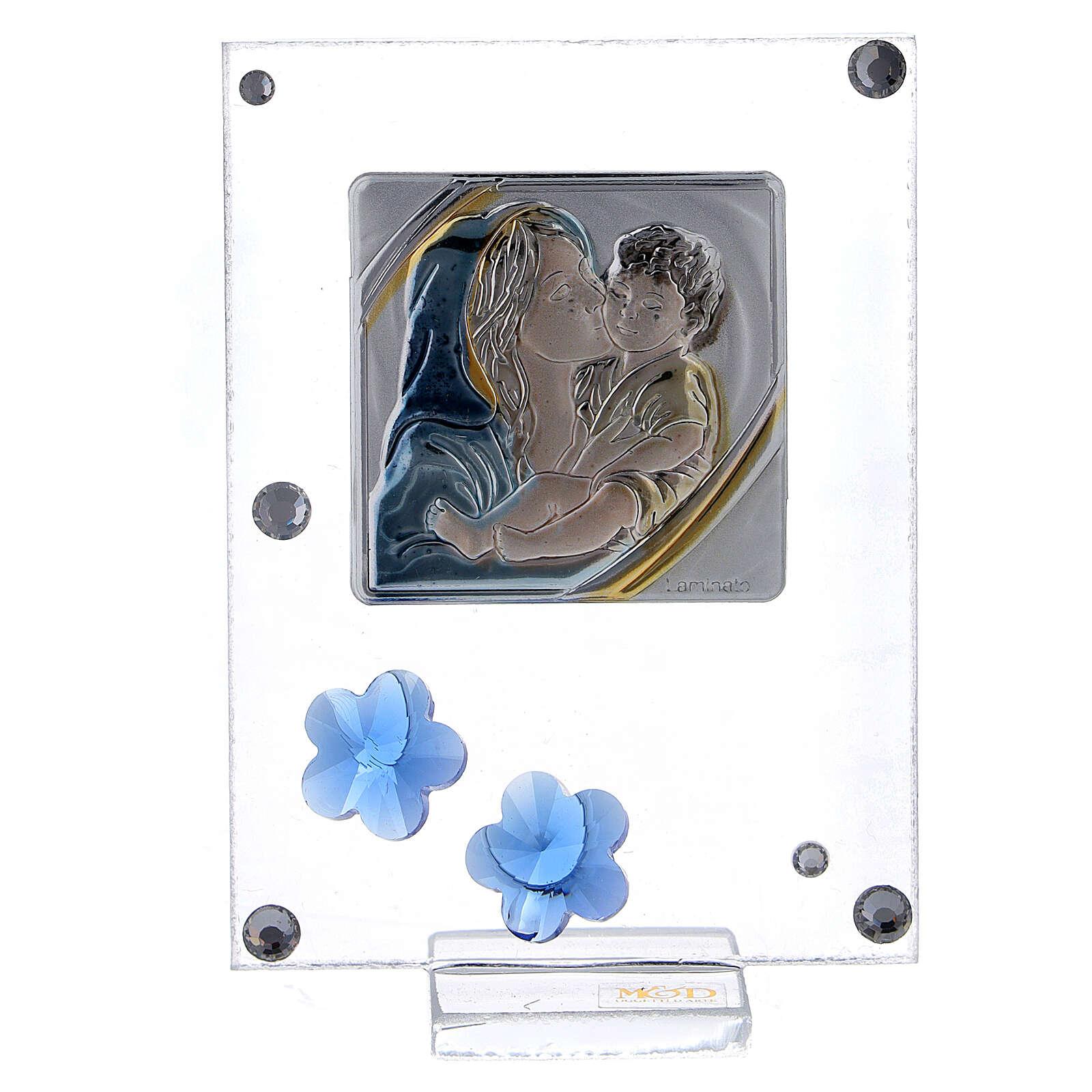 Quadretto Maternità bilaminato fiorellini blu 10x5 cm 3