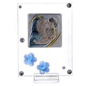 Quadretto Maternità bilaminato fiorellini blu 10x5 cm s1