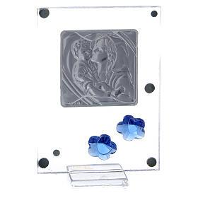 Quadretto Maternità bilaminato fiorellini blu 10x5 cm s3