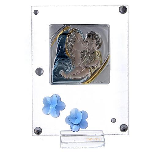 Quadretto Maternità bilaminato fiorellini blu 10x5 cm 1