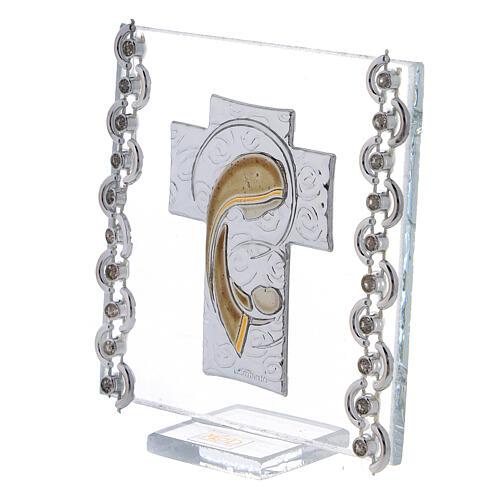 Cuadrito Cruz bilaminado Virgen con Niño 7x7 cm 2