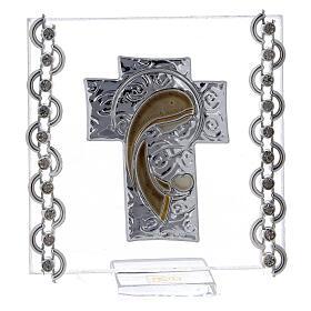 Quadretto Croce bilaminato Madonna con Bambino 7x7 cm s1