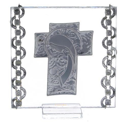 Quadretto Croce bilaminato Madonna con Bambino 7x7 cm 3