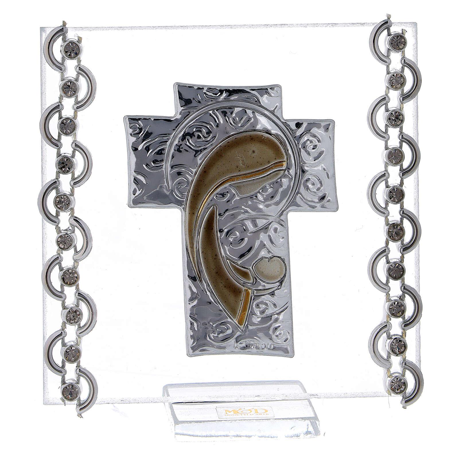 Enfeite cruz prata bilaminada Virgem com o Menino 7x7 cm 3