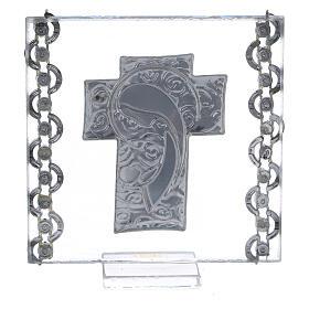 Enfeite cruz prata bilaminada Virgem com o Menino 7x7 cm s3