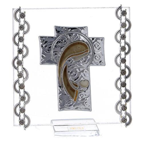 Enfeite cruz prata bilaminada Virgem com o Menino 7x7 cm 1