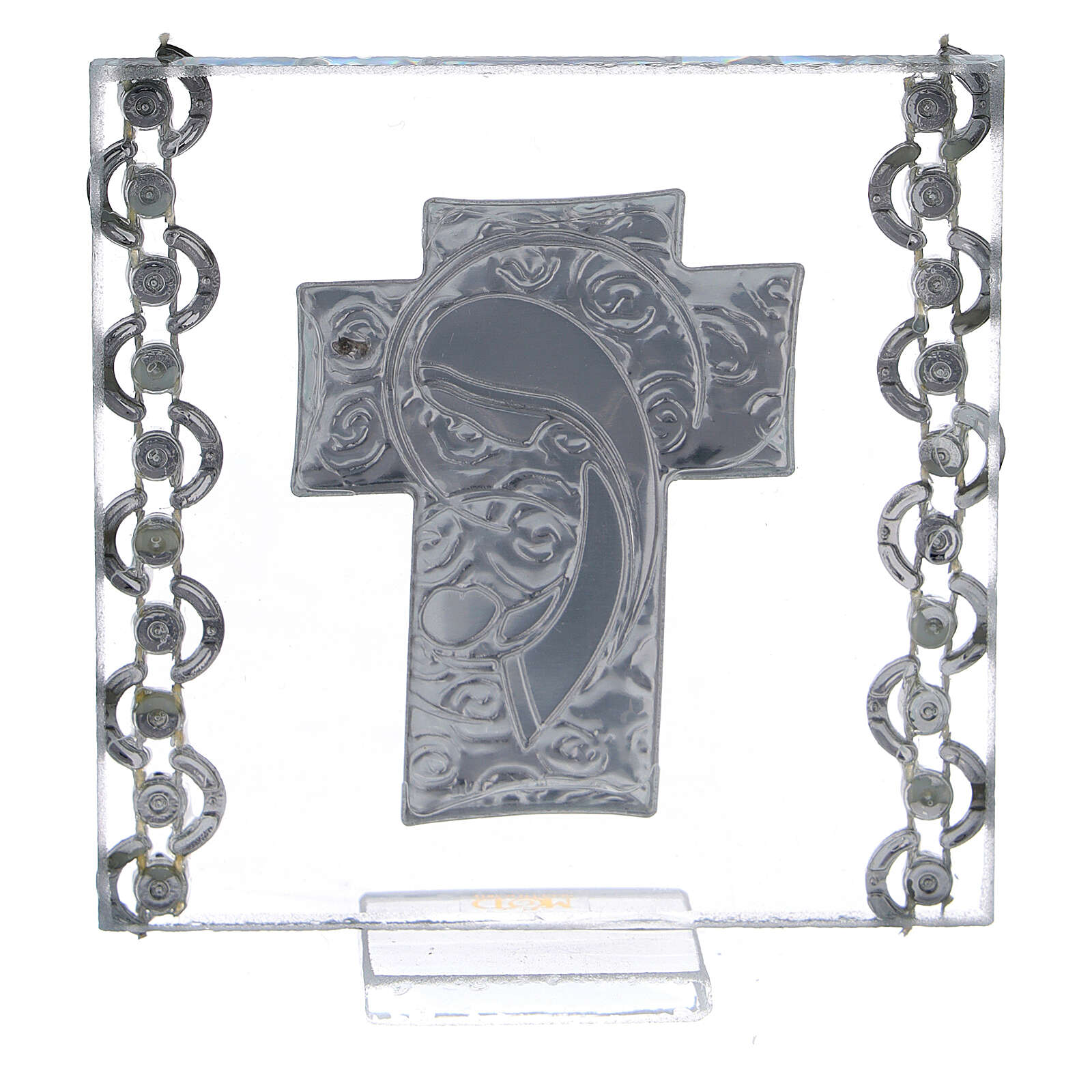 Glass picture cross double laminated silver Virgin Mary with Child 3x3 in 3