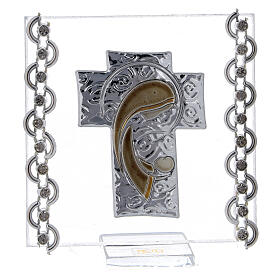 Glass picture cross double laminated silver Virgin Mary with Child 3x3 in s1
