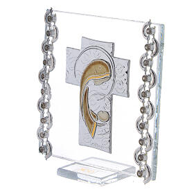 Glass picture cross double laminated silver Virgin Mary with Child 3x3 in s2
