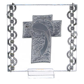 Glass picture cross double laminated silver Virgin Mary with Child 3x3 in s3