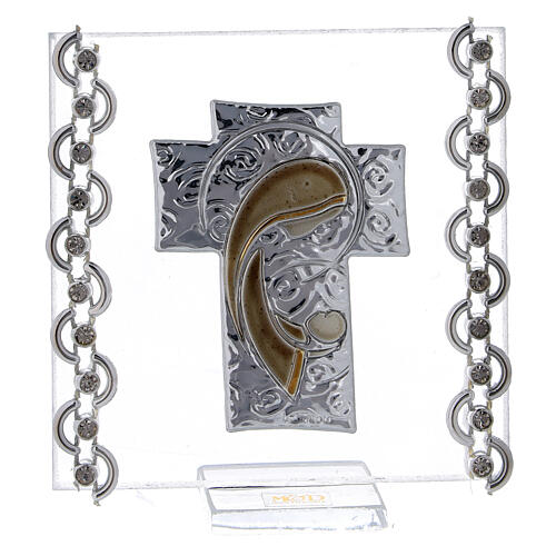 Glass picture cross double laminated silver Virgin Mary with Child 3x3 in 1