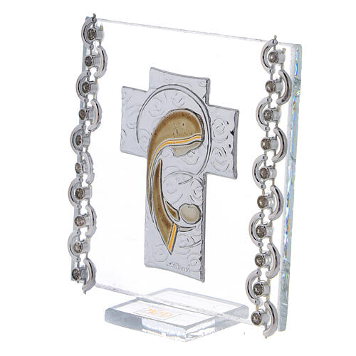Glass picture cross double laminated silver Virgin Mary with Child 3x3 in 2